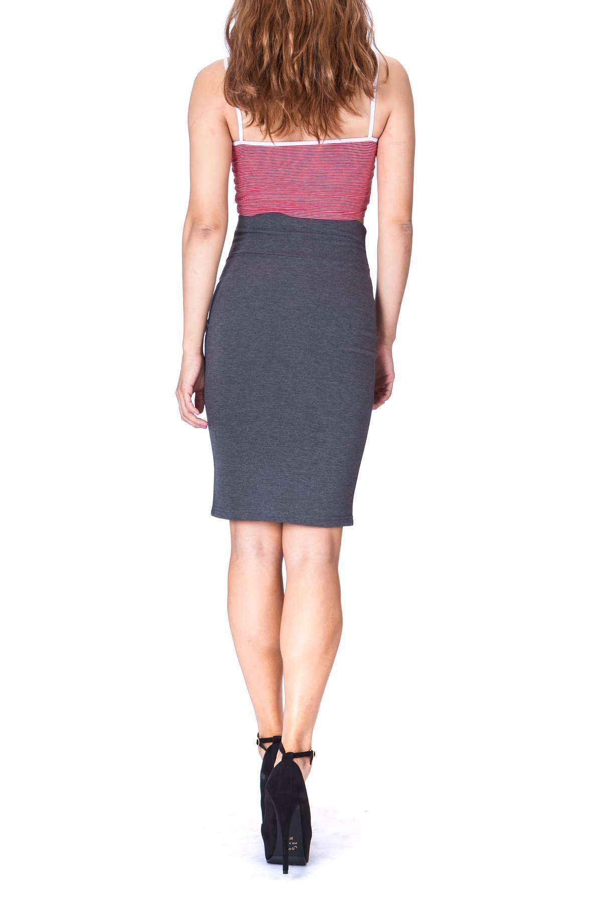Every Occasion Stretch Pull on Wide High Waist Bodycon Pencil Knee Length Midi Skirt Charcoal 3