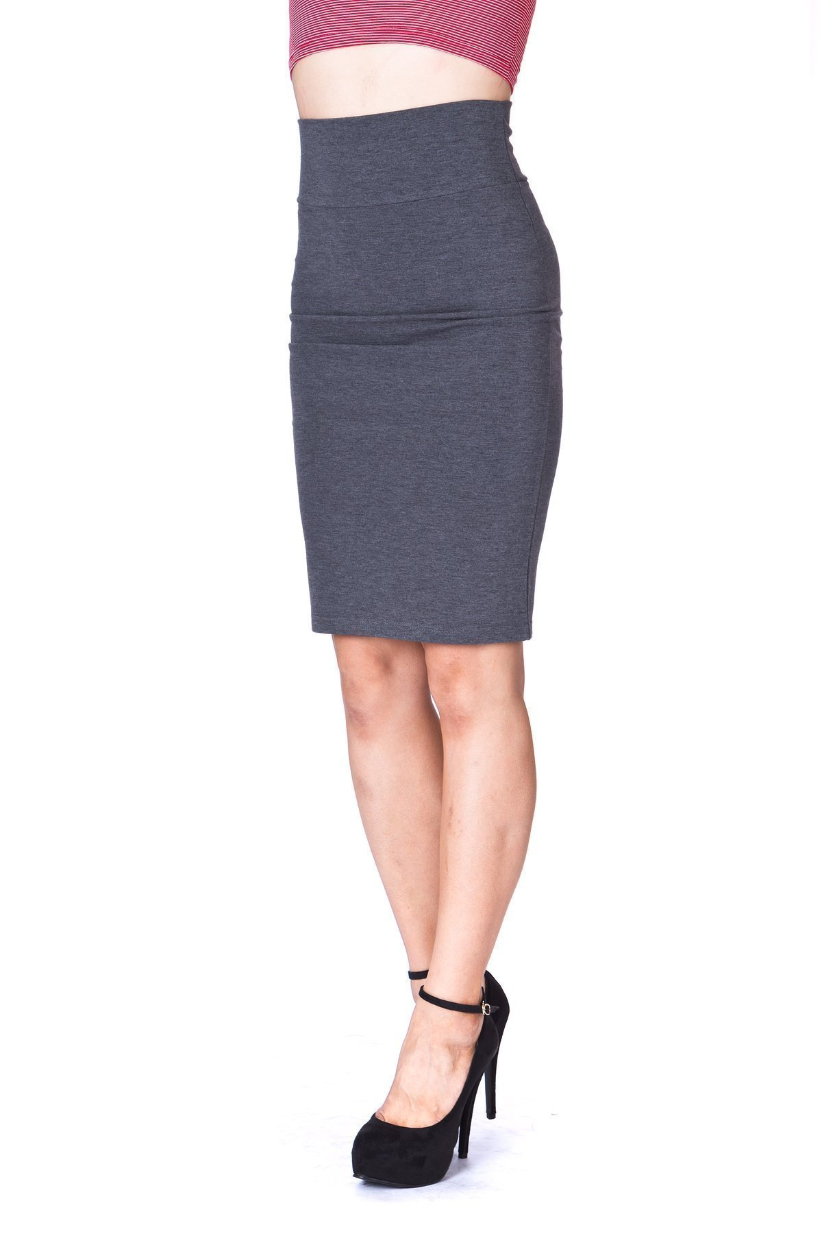 Every Occasion Stretch Pull on Wide High Waist Bodycon Pencil Knee Length Midi Skirt Charcoal 4 1