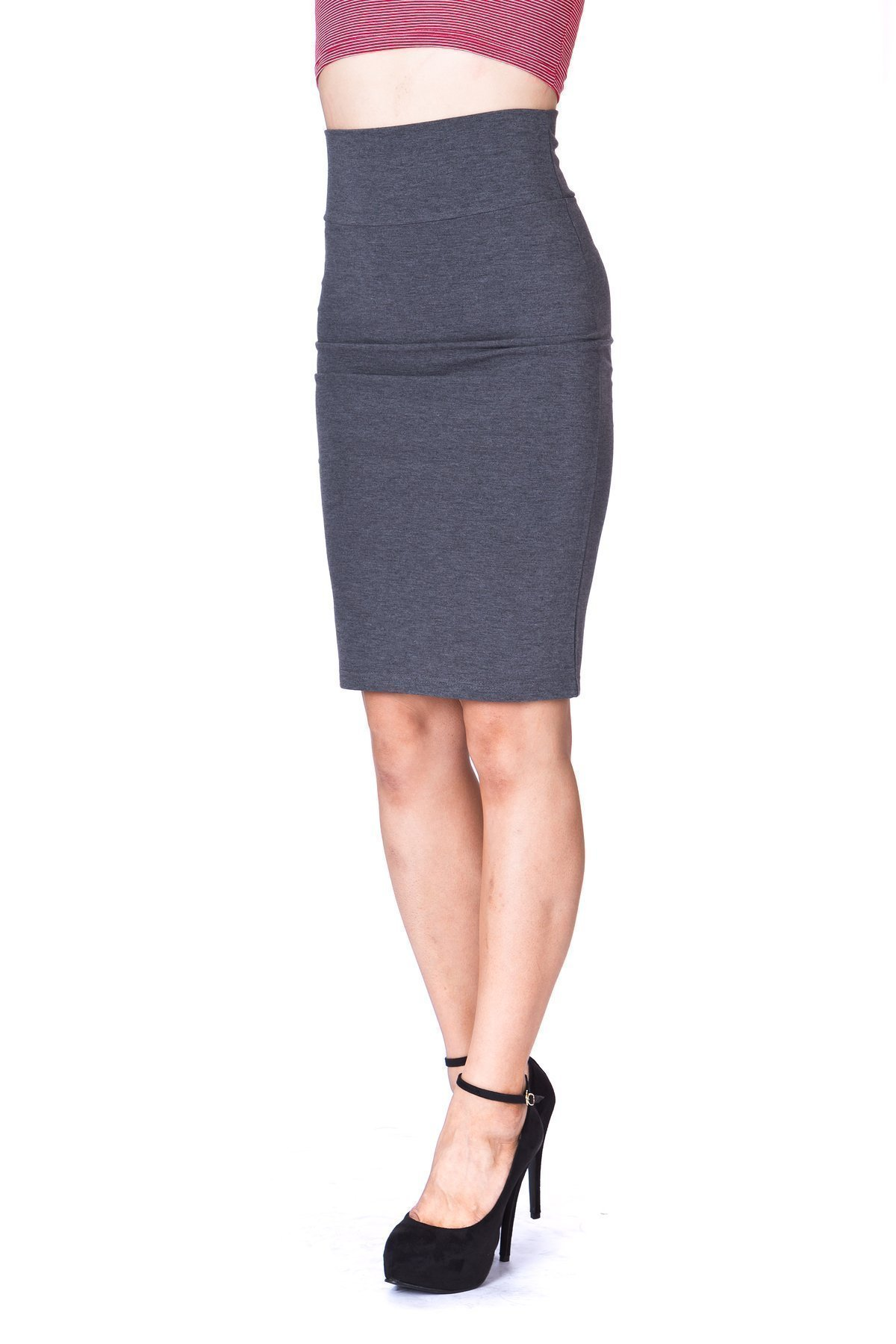Every Occasion Stretch Pull on Wide High Waist Bodycon Pencil Knee Length Midi Skirt Charcoal 4