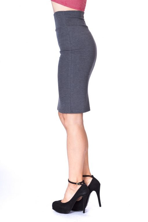Every Occasion Stretch Pull on Wide High Waist Bodycon Pencil Knee Length Midi Skirt Charcoal 5 1