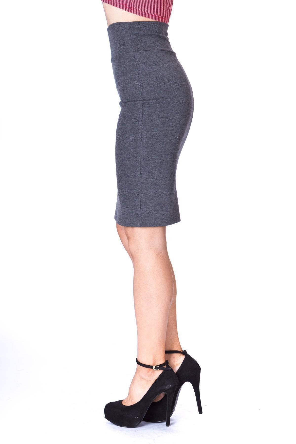 Every Occasion Stretch Pull on Wide High Waist Bodycon Pencil Knee Length Midi Skirt Charcoal 5
