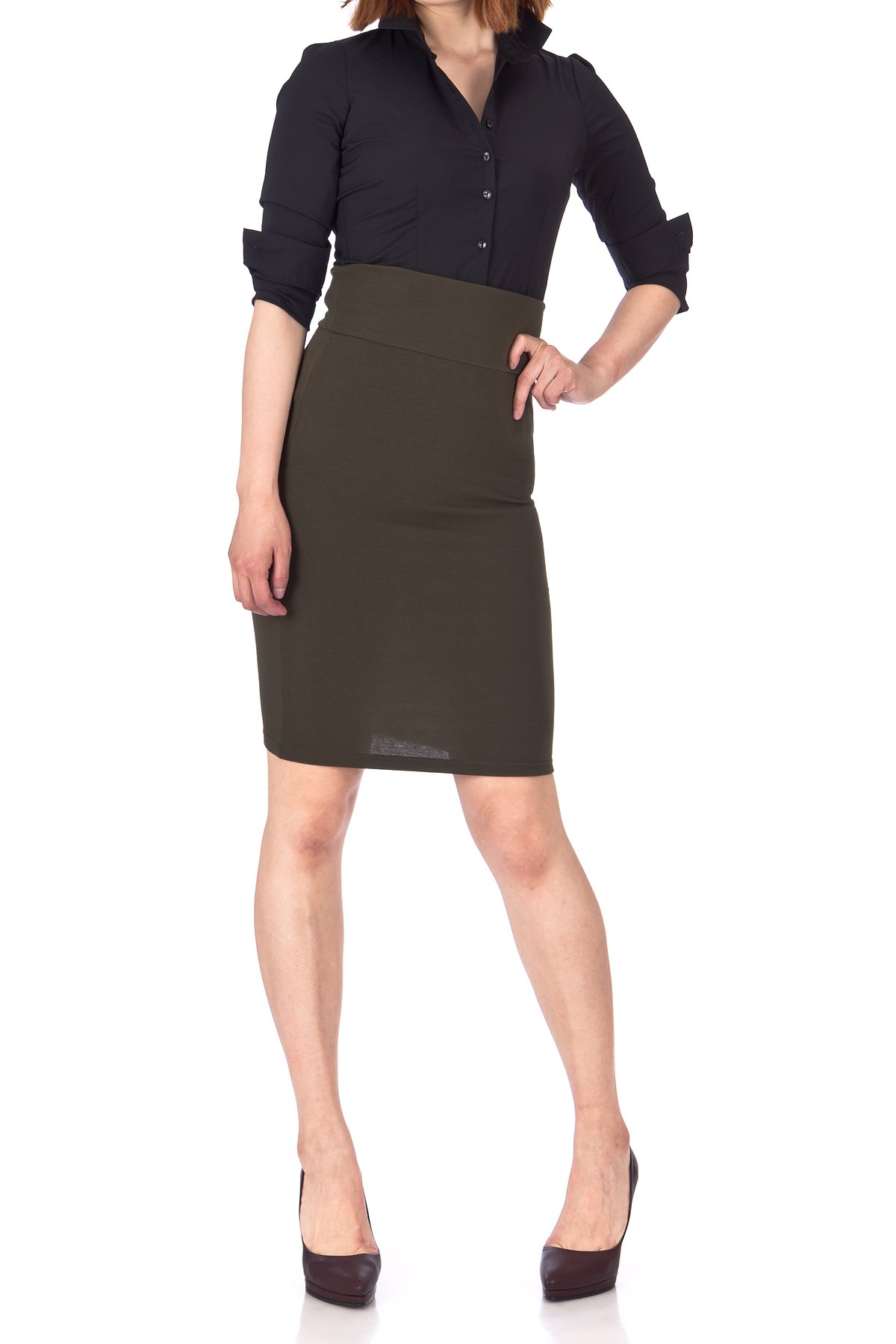 Every Occasion Stretch Pull on Wide High Waist Bodycon Pencil Knee Length Midi Skirt Khaki 02