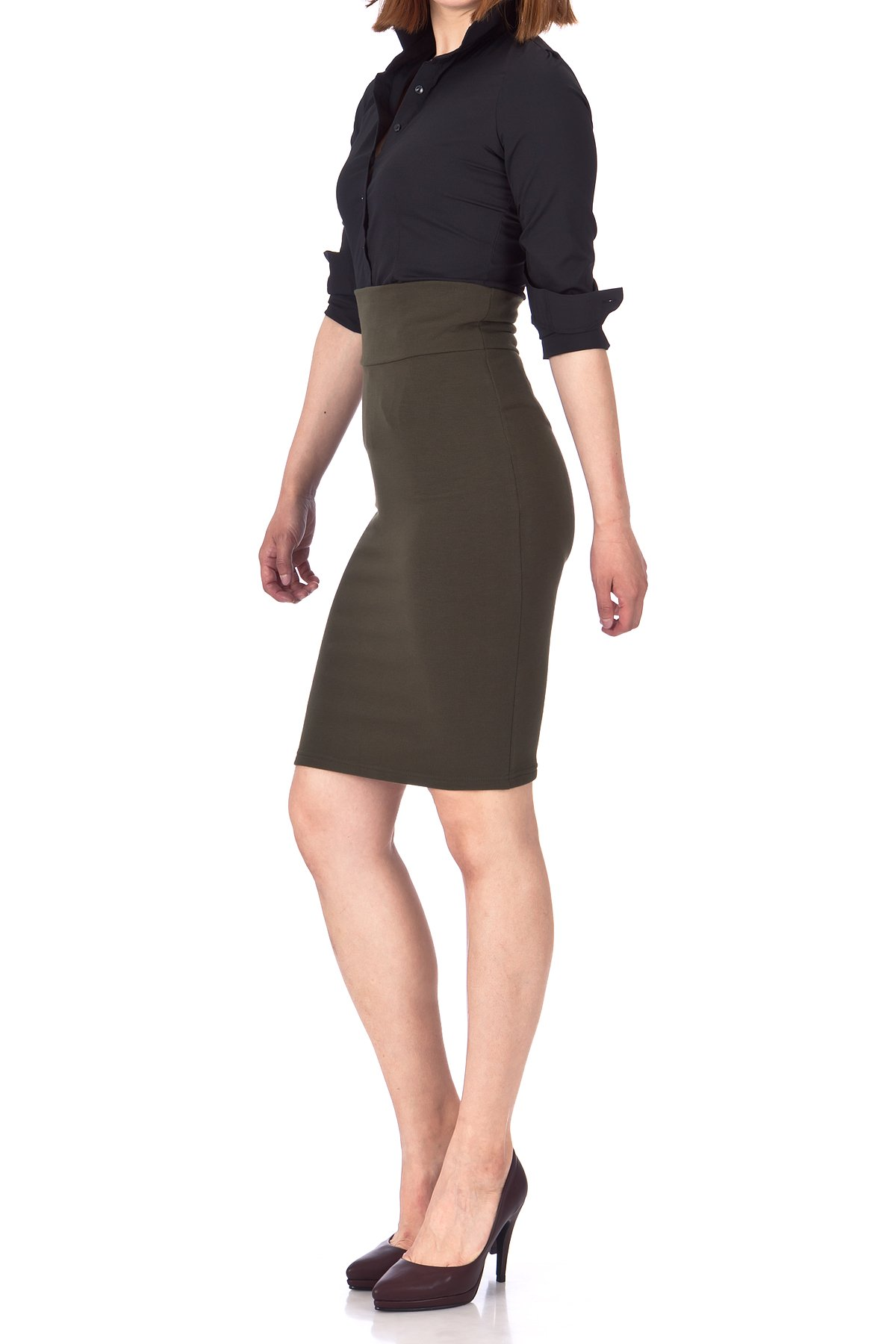 Every Occasion Stretch Pull on Wide High Waist Bodycon Pencil Knee Length Midi Skirt Khaki 03