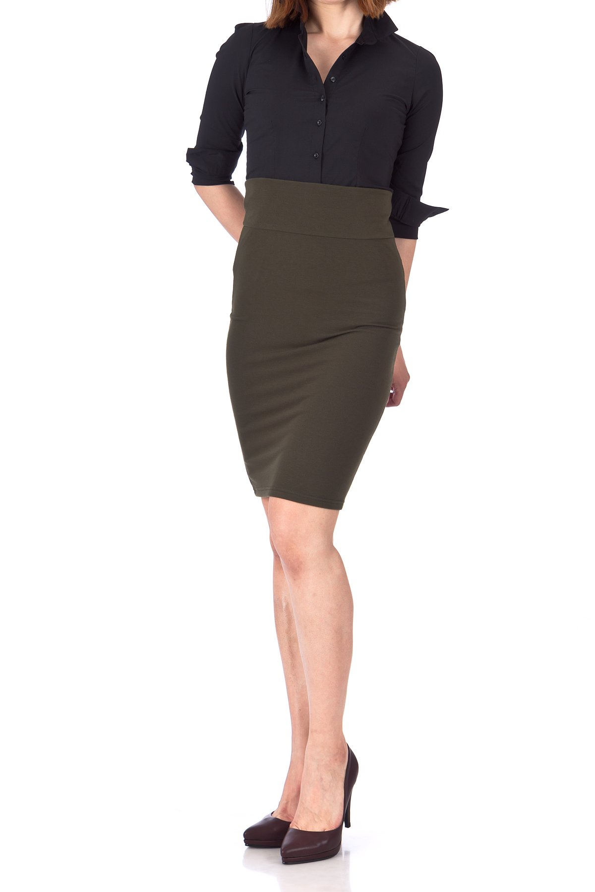 Every Occasion Stretch Pull on Wide High Waist Bodycon Pencil Knee Length Midi Skirt Khaki 04