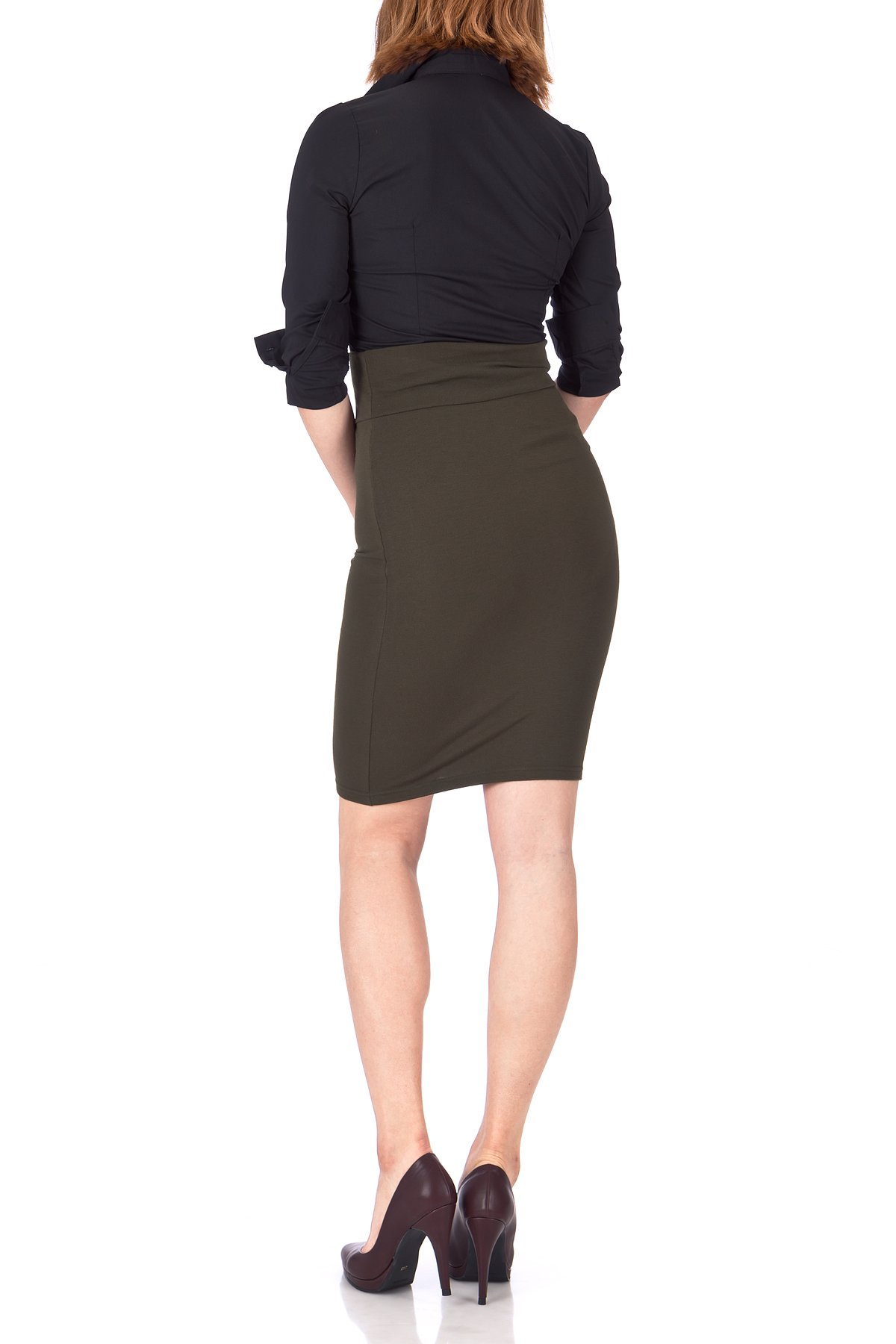 Every Occasion Stretch Pull on Wide High Waist Bodycon Pencil Knee Length Midi Skirt Khaki 05