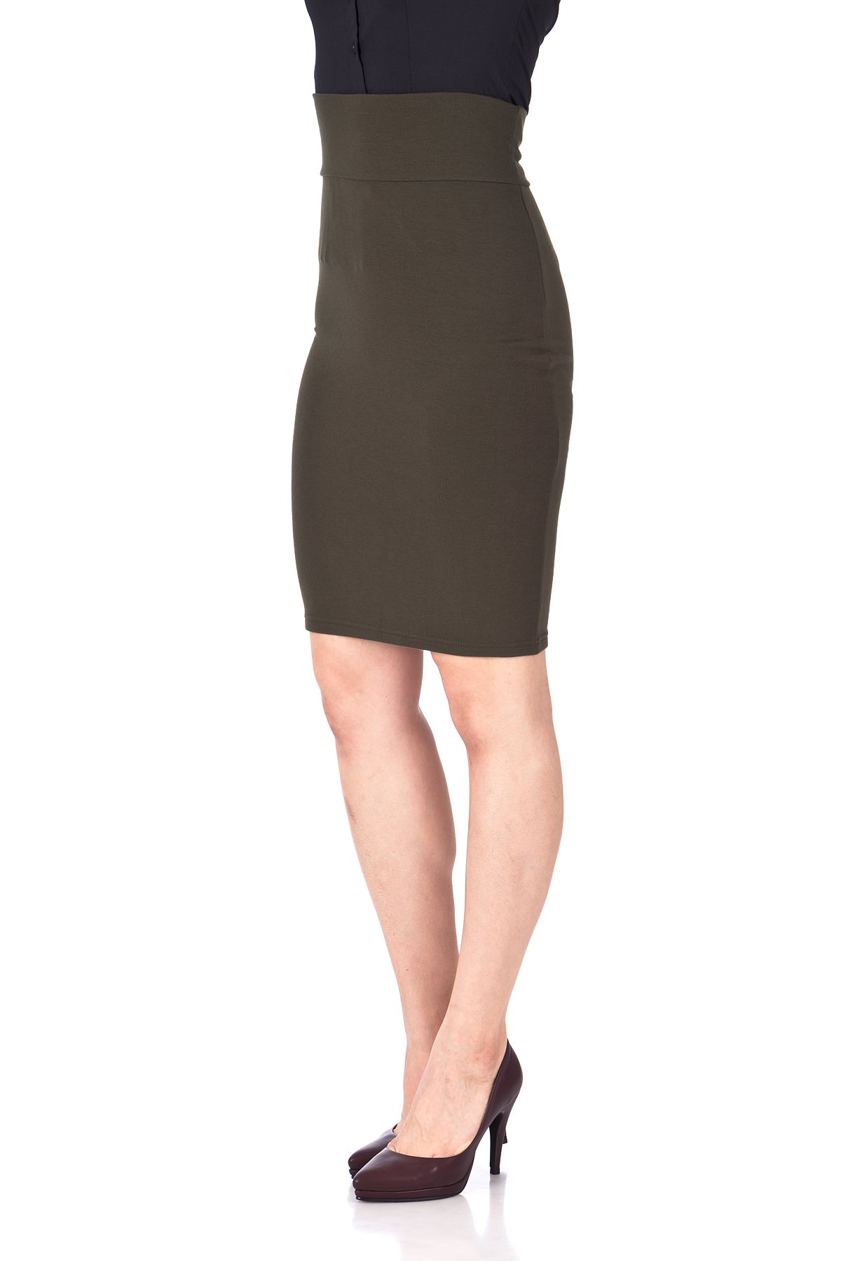Every Occasion Stretch Pull on Wide High Waist Bodycon Pencil Knee Length Midi Skirt Khaki 06