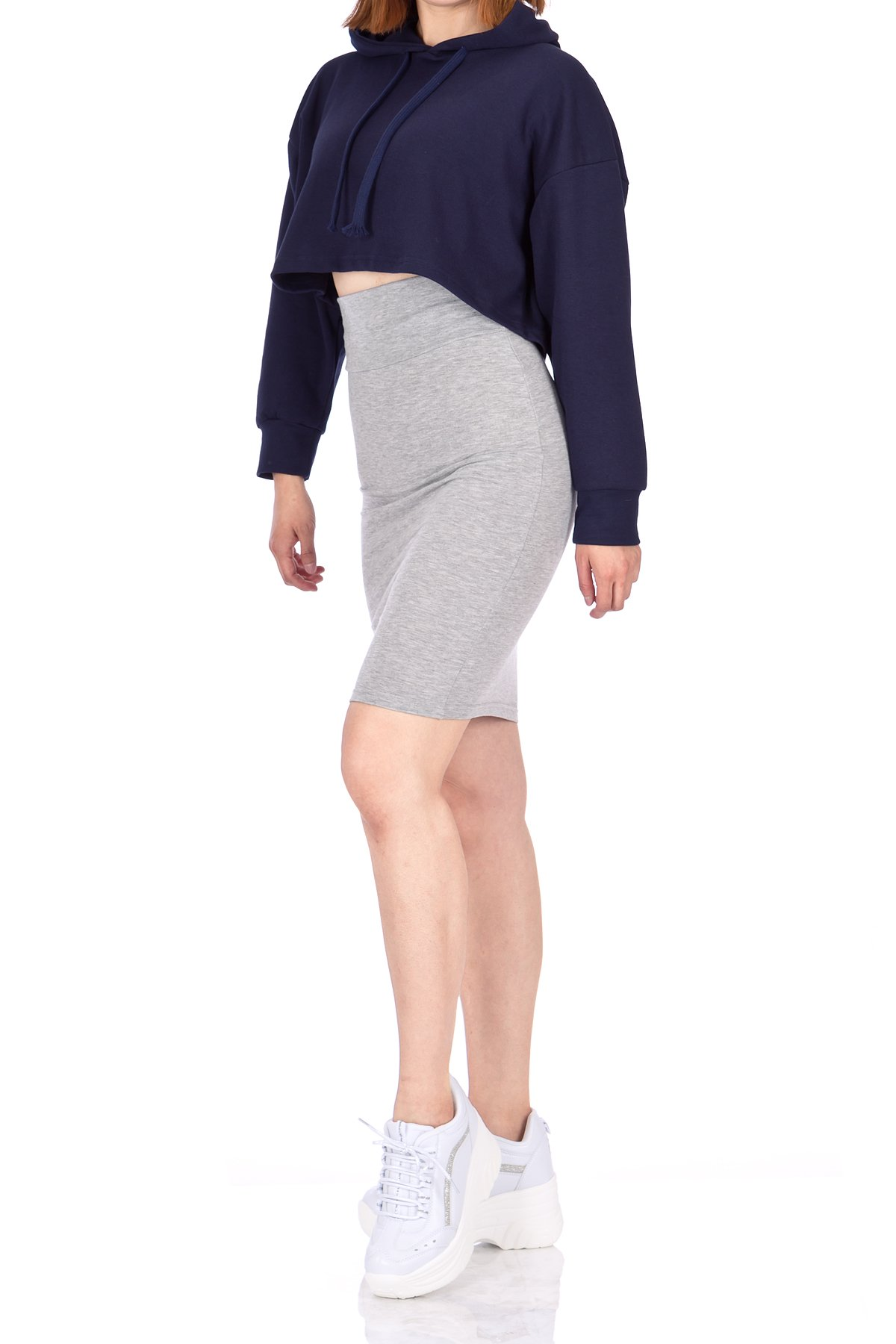 Every Occasion Stretch Pull on Wide High Waist Bodycon Pencil Knee Length Midi Skirt Melange 02