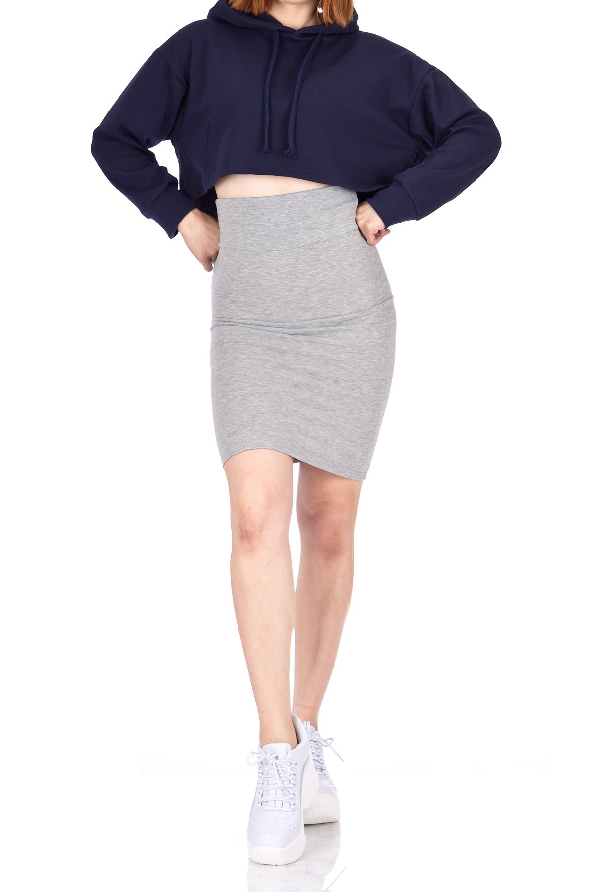 Every Occasion Stretch Pull on Wide High Waist Bodycon Pencil Knee Length Midi Skirt Melange 05