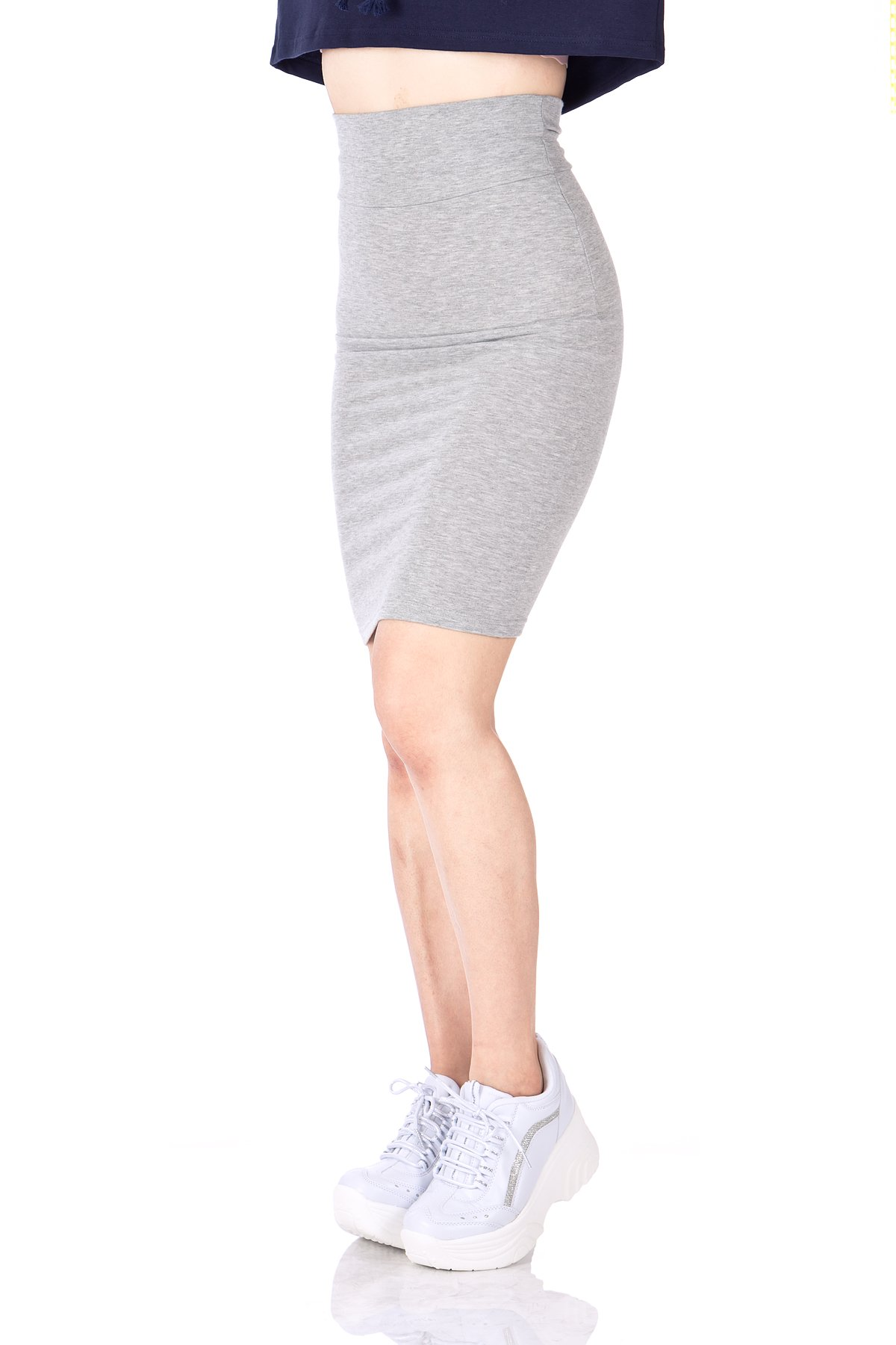 Every Occasion Stretch Pull on Wide High Waist Bodycon Pencil Knee Length Midi Skirt Melange 06