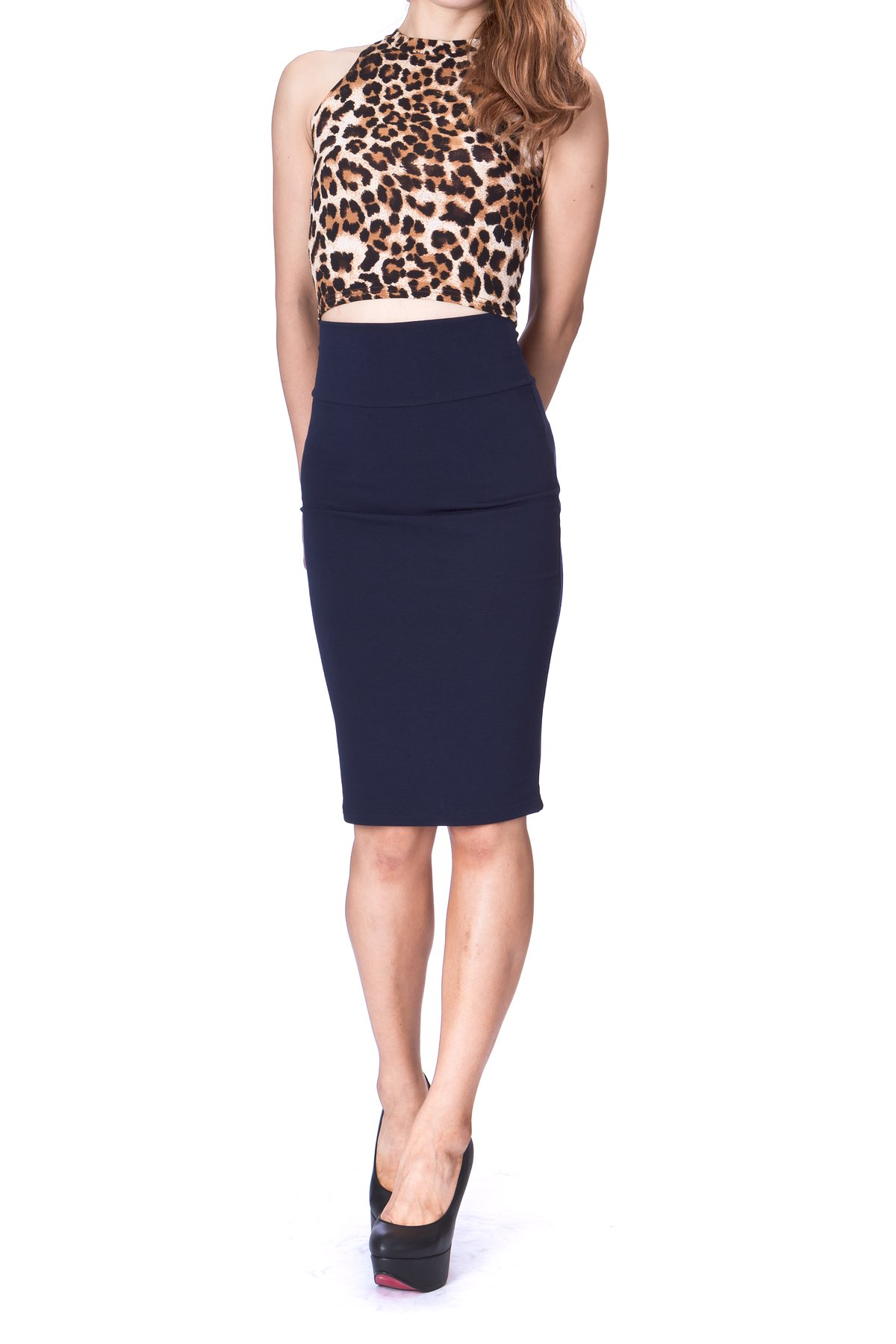 Every Occasion Stretch Pull on Wide High Waist Bodycon Pencil Knee Length Midi Skirt Navy 1