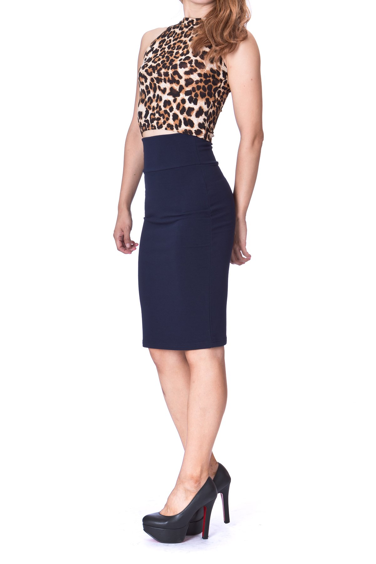Every Occasion Stretch Pull on Wide High Waist Bodycon Pencil Knee Length Midi Skirt Navy 2