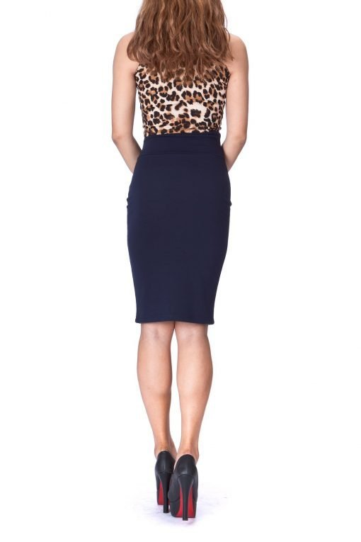 Every Occasion Stretch Pull on Wide High Waist Bodycon Pencil Knee Length Midi Skirt Navy 3 1