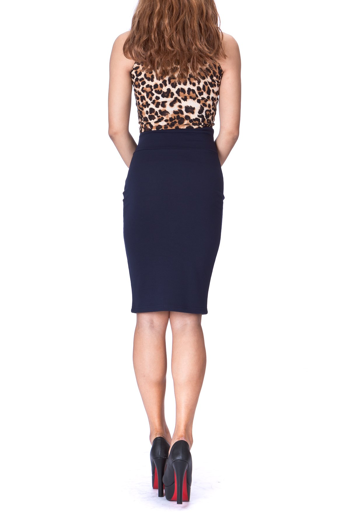 Every Occasion Stretch Pull on Wide High Waist Bodycon Pencil Knee Length Midi Skirt Navy 3