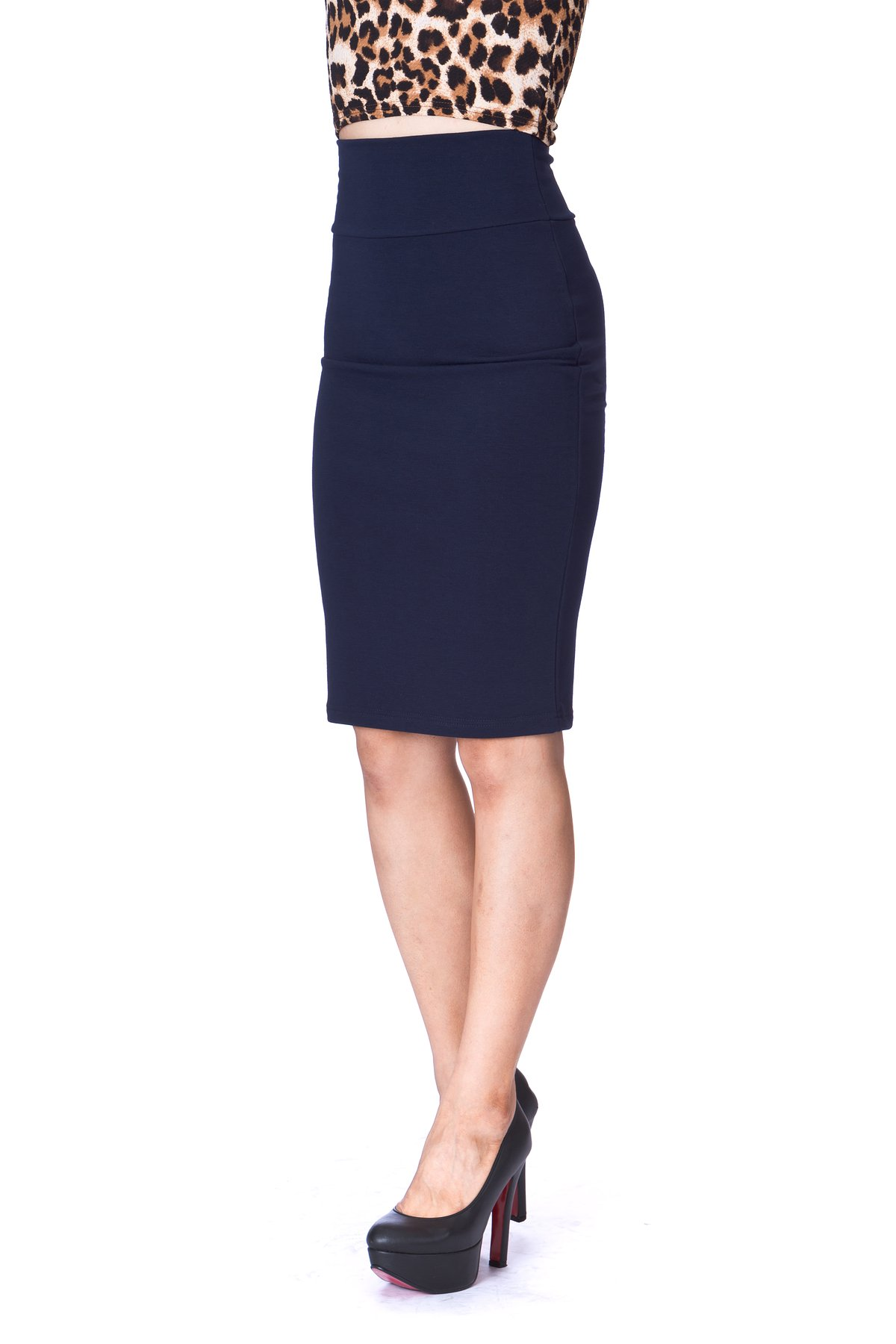 Every Occasion Stretch Pull on Wide High Waist Bodycon Pencil Knee Length Midi Skirt Navy 4