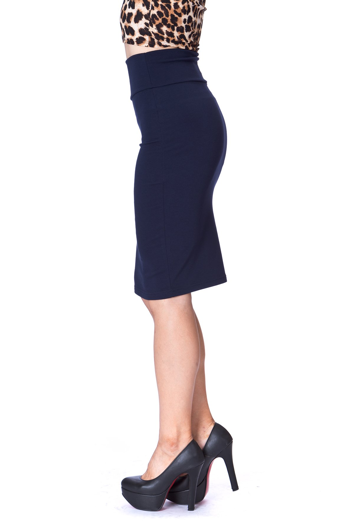 Every Occasion Stretch Pull on Wide High Waist Bodycon Pencil Knee Length Midi Skirt Navy 5