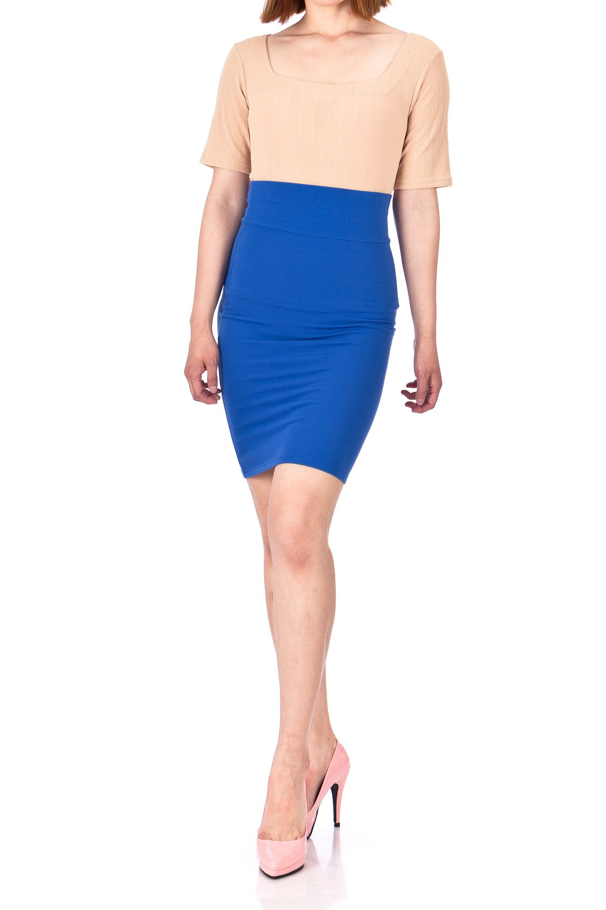 Every Occasion Stretch Pull on Wide High Waist Bodycon Pencil Knee Length Midi Skirt Royal Blue 01
