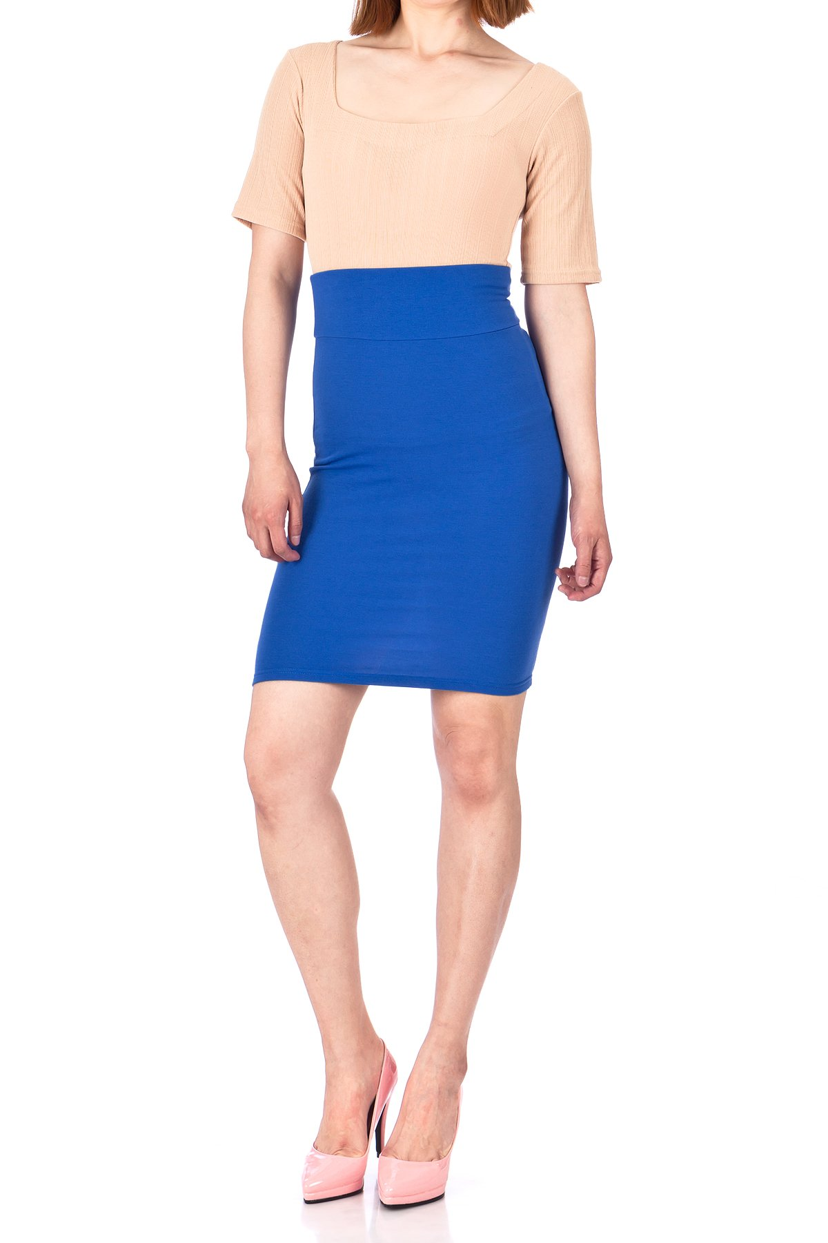 Every Occasion Stretch Pull on Wide High Waist Bodycon Pencil Knee Length Midi Skirt Royal Blue 02