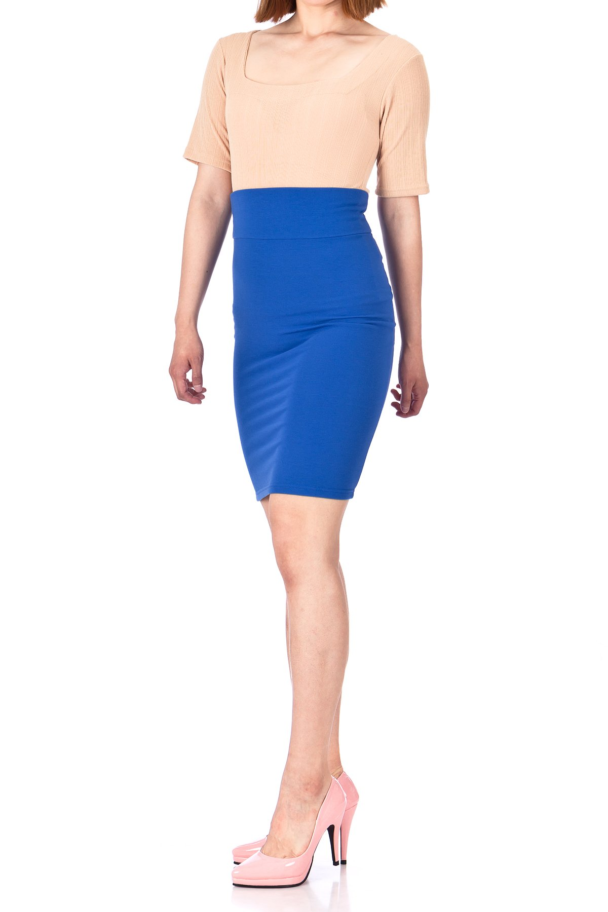 Every Occasion Stretch Pull on Wide High Waist Bodycon Pencil Knee Length Midi Skirt Royal Blue 03