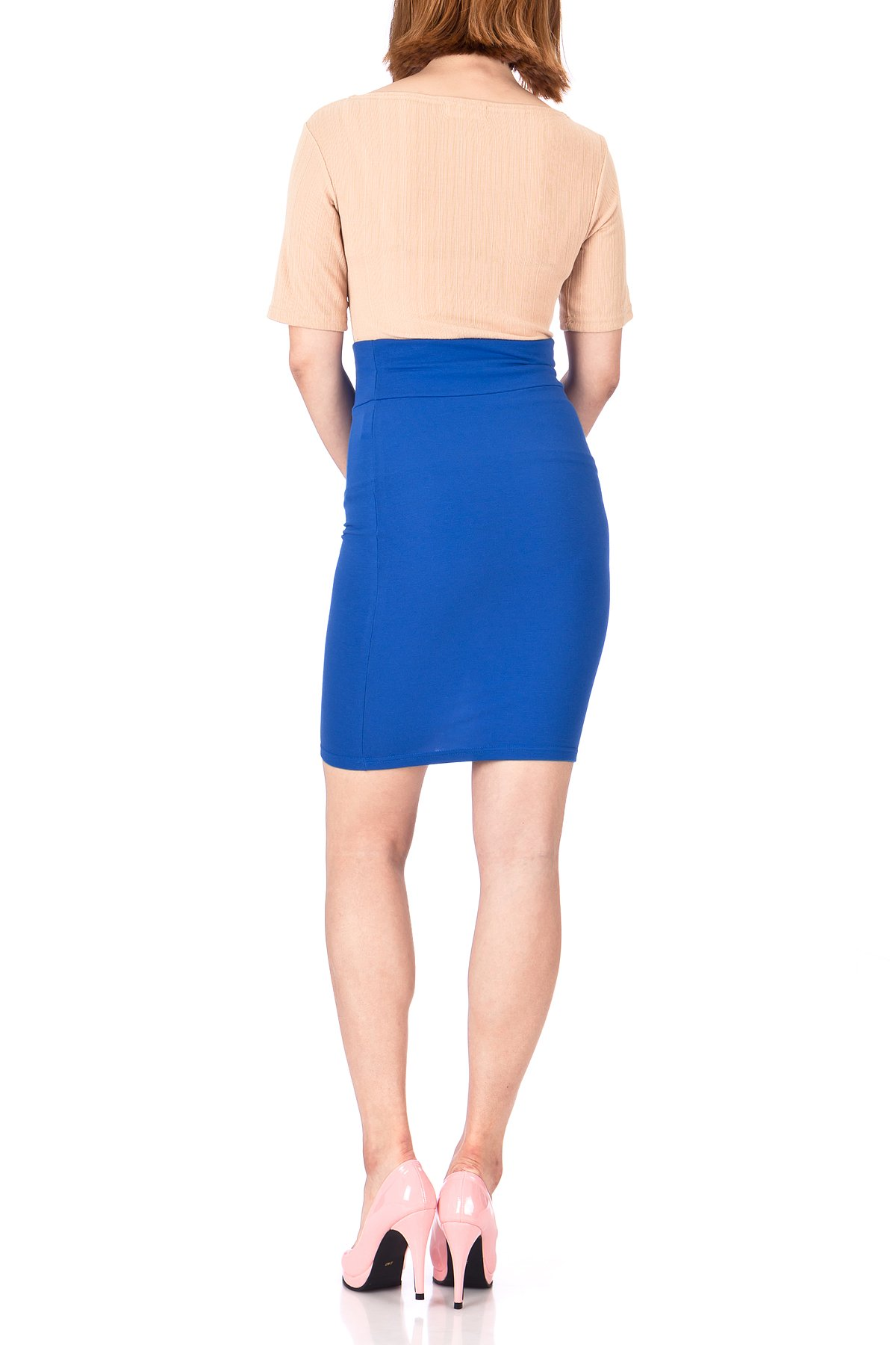 Every Occasion Stretch Pull on Wide High Waist Bodycon Pencil Knee Length Midi Skirt Royal Blue 05