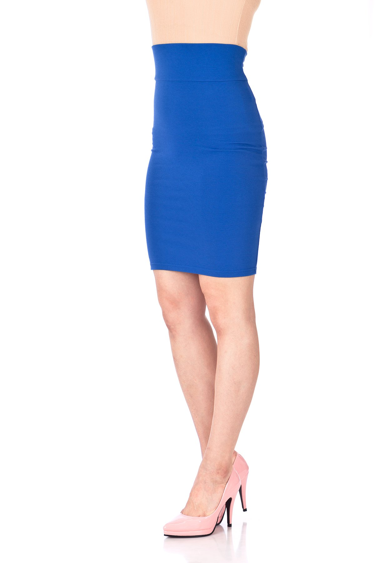 Every Occasion Stretch Pull on Wide High Waist Bodycon Pencil Knee Length Midi Skirt Royal Blue 06