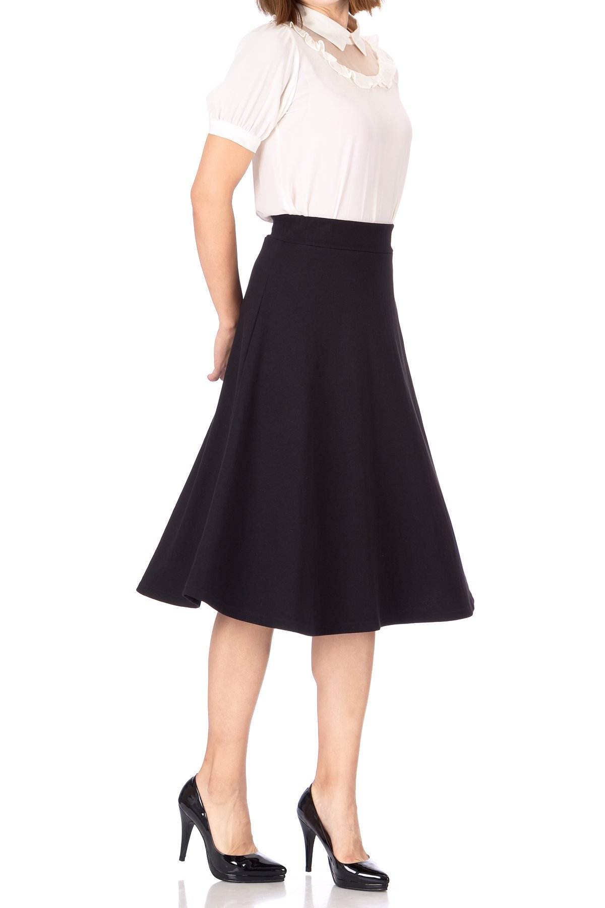 Everyday High Waist A Line Flared Skater Midi Skirt Black 01