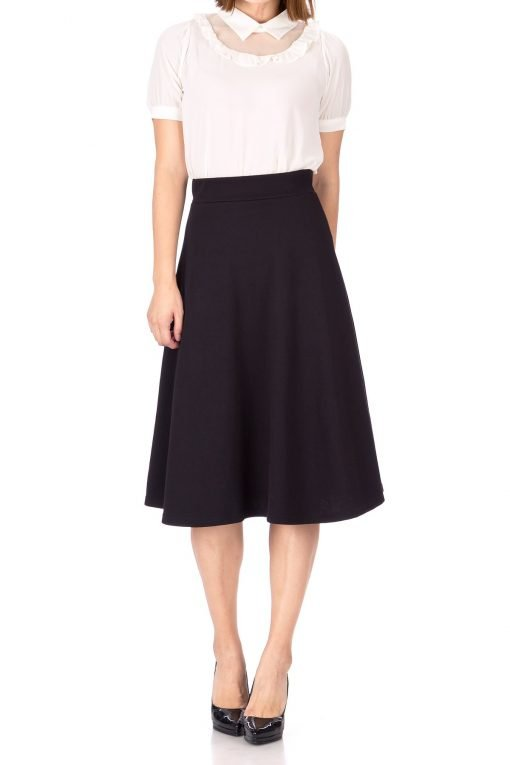 Everyday High Waist A Line Flared Skater Midi Skirt Black 02 1