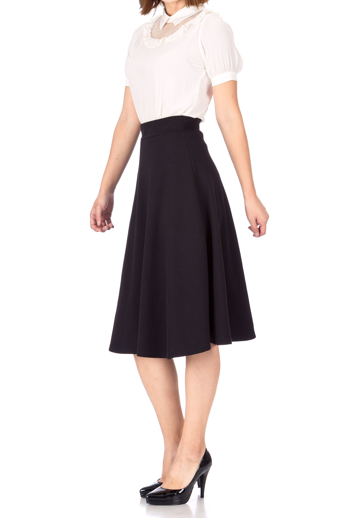 Everyday High Waist A Line Flared Skater Midi Skirt Black 03 1