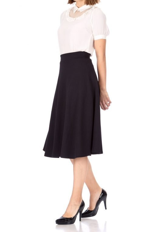 Everyday High Waist A Line Flared Skater Midi Skirt Black 05 1