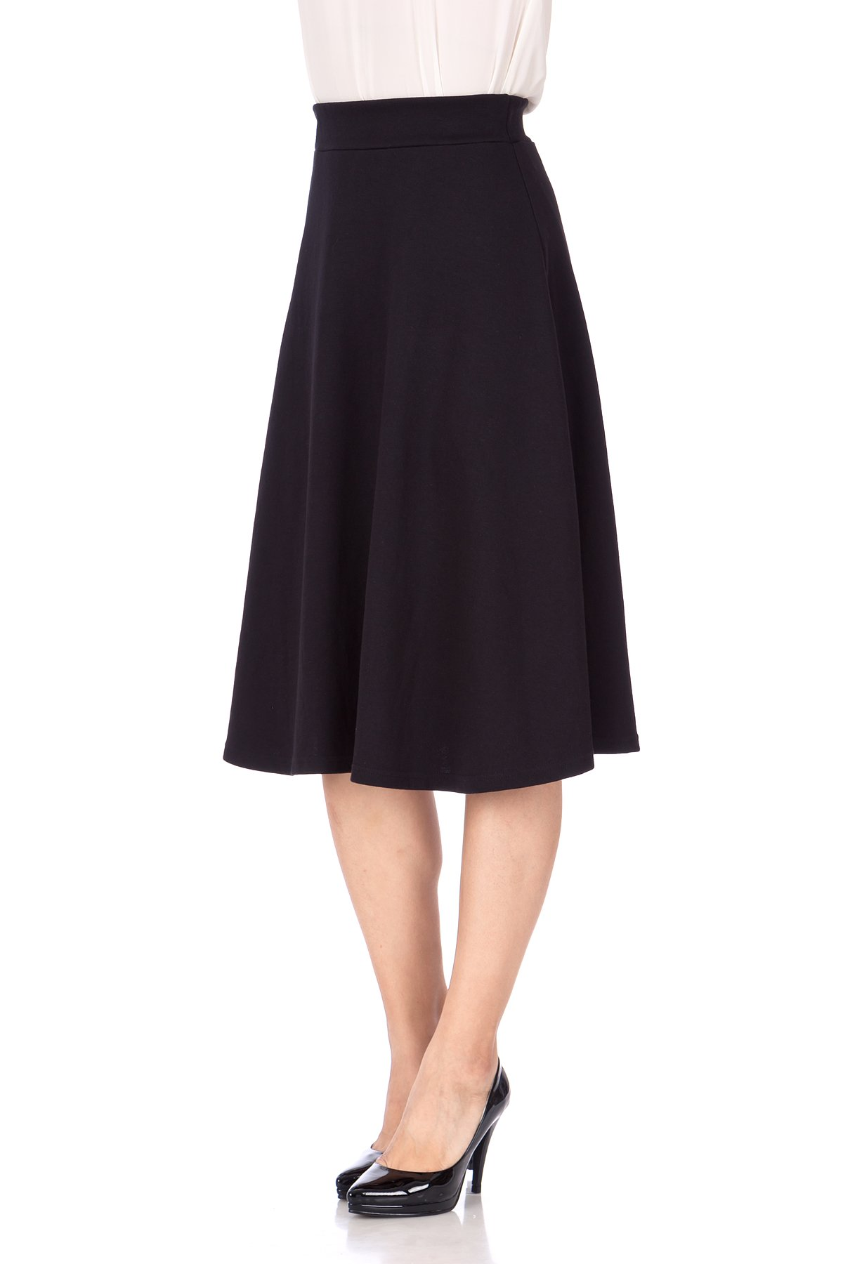 Everyday High Waist A Line Flared Skater Midi Skirt Black 06