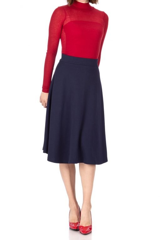 Everyday High Waist A Line Flared Skater Midi Skirt Navy 01 1
