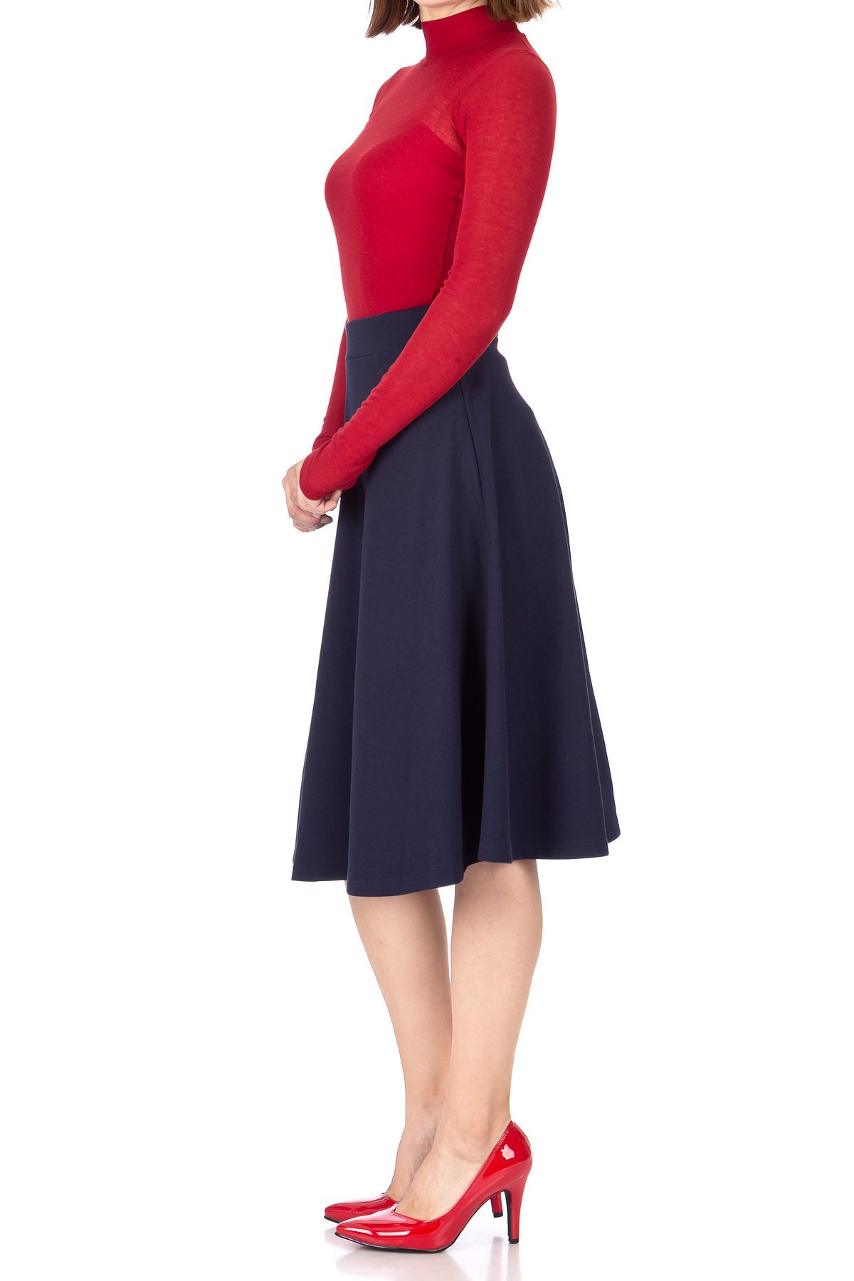 Everyday High Waist A Line Flared Skater Midi Skirt Navy 02