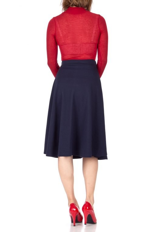 Everyday High Waist A Line Flared Skater Midi Skirt Navy 03 1