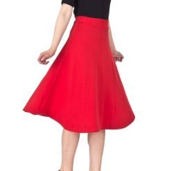 Everyday High Waist A Line Flared Skater Midi Skirt Red 01