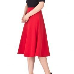 Everyday High Waist A Line Flared Skater Midi Skirt Red 02
