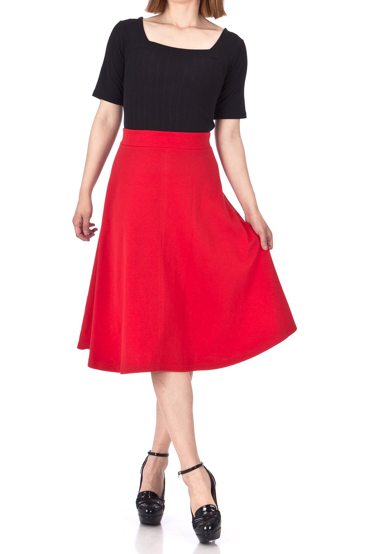 Everyday High Waist A Line Flared Skater Midi Skirt Red 03