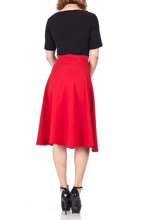Everyday High Waist A Line Flared Skater Midi Skirt Red 04