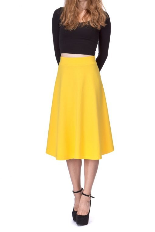Everyday High Waist A Line Flared Skater Midi Skirt Yellow 01 1