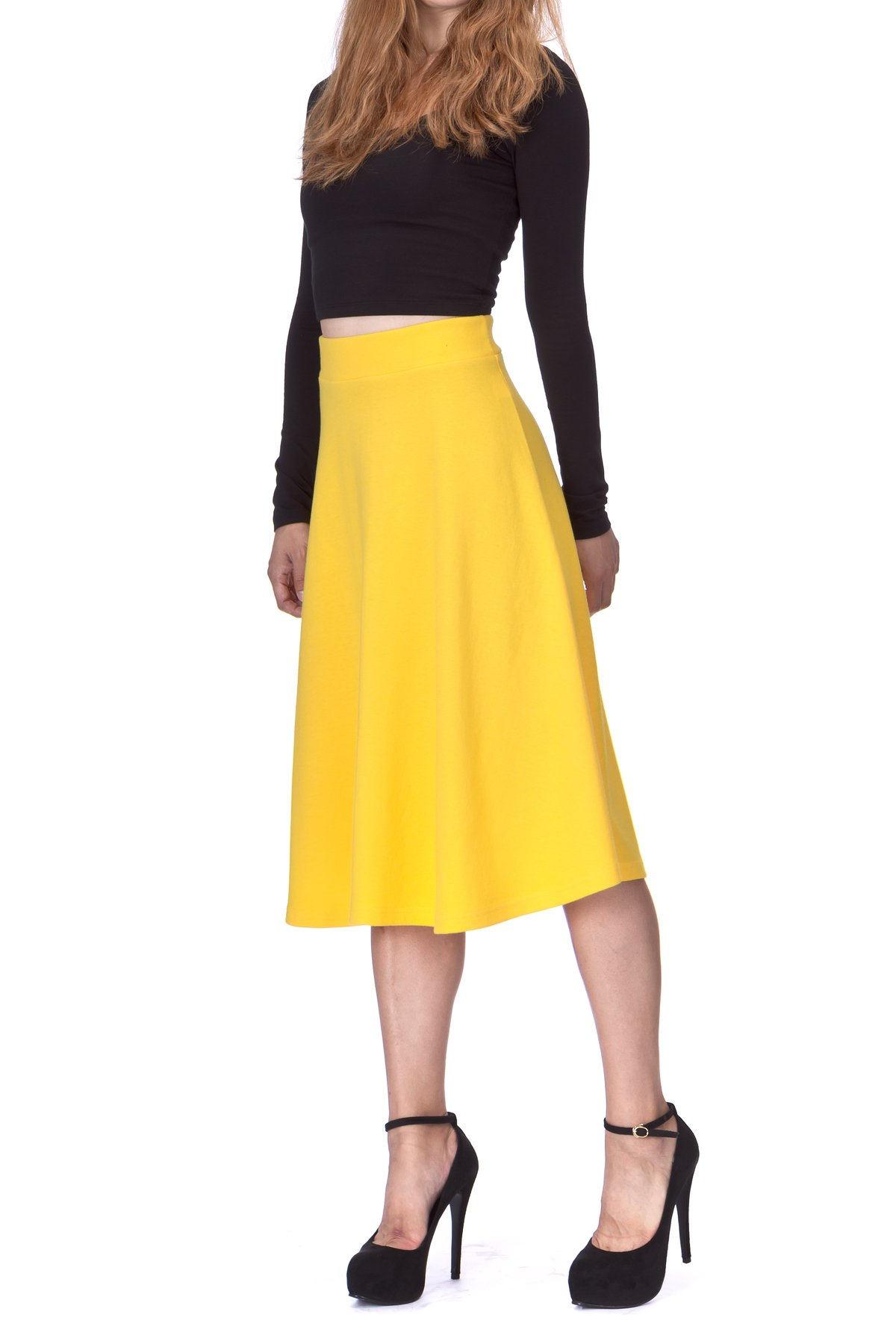 Everyday High Waist A Line Flared Skater Midi Skirt Yellow 02