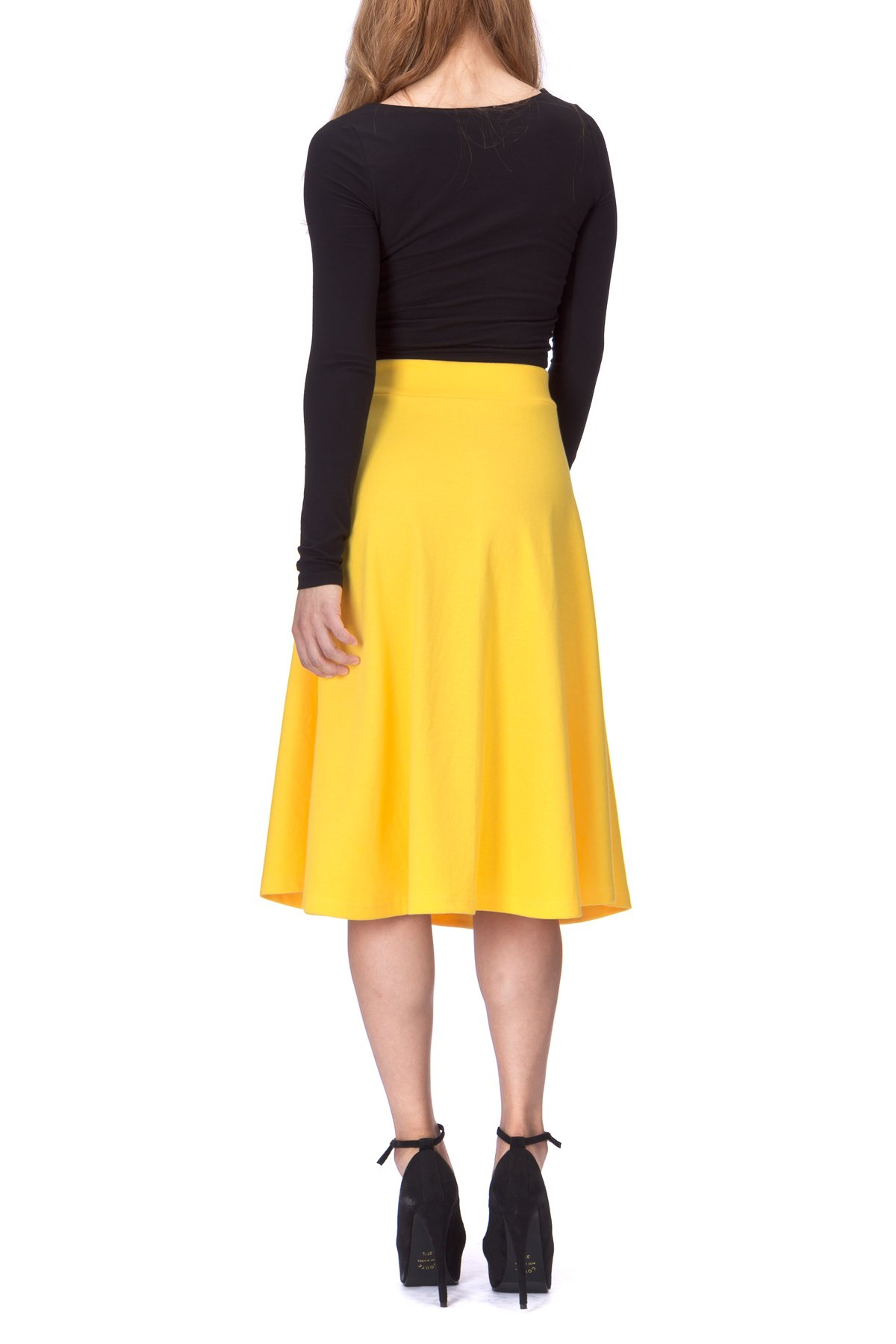 Everyday High Waist A Line Flared Skater Midi Skirt Yellow 03