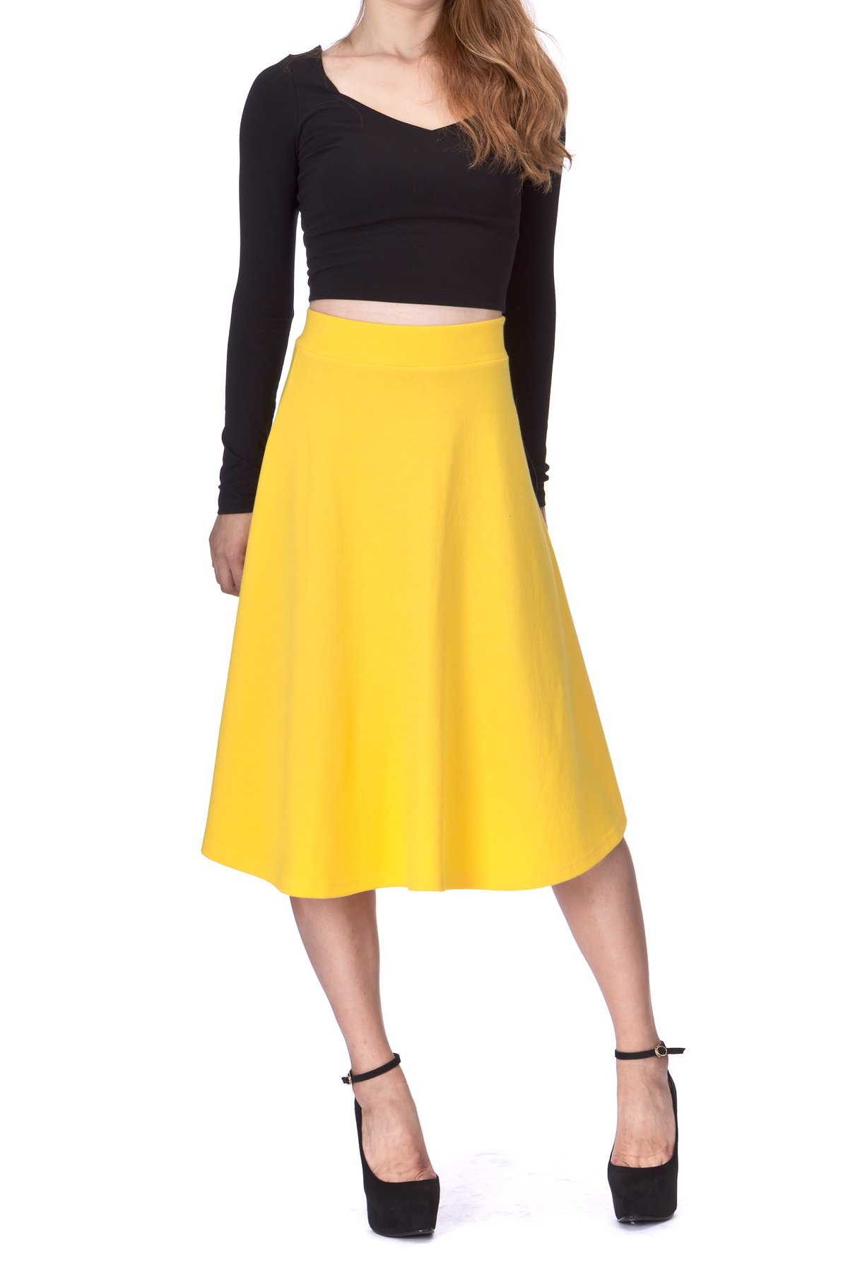 Everyday High Waist A Line Flared Skater Midi Skirt Yellow 04