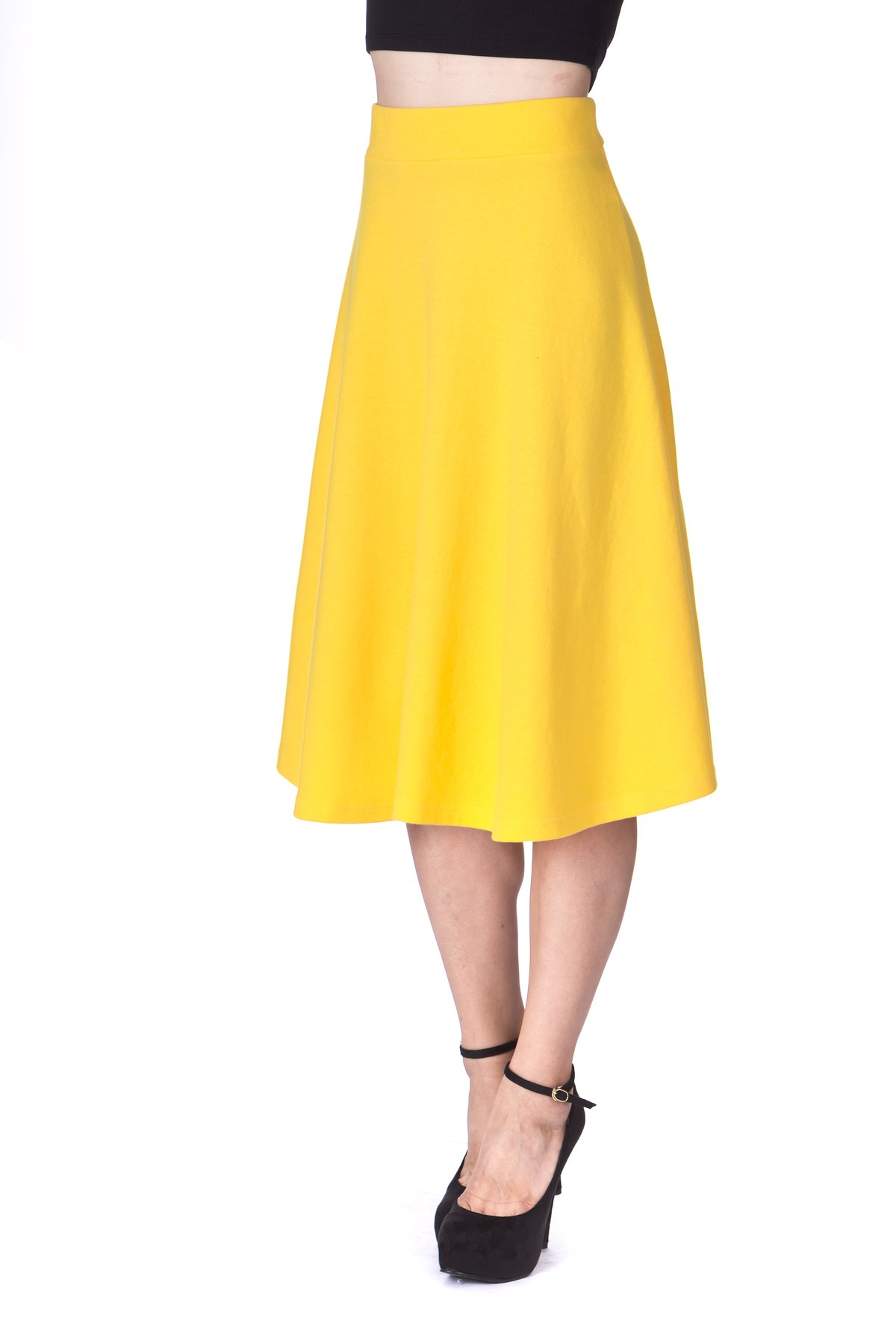 Everyday High Waist A Line Flared Skater Midi Skirt Yellow 05