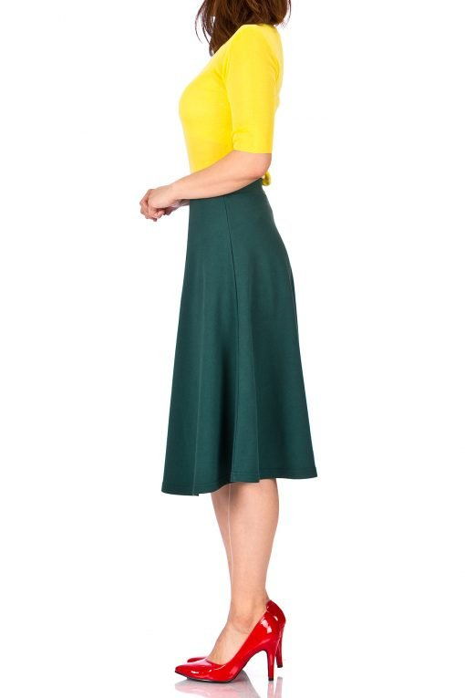 Everyday High Waist A line Flared Skater Midi Skirt Deep Green 1
