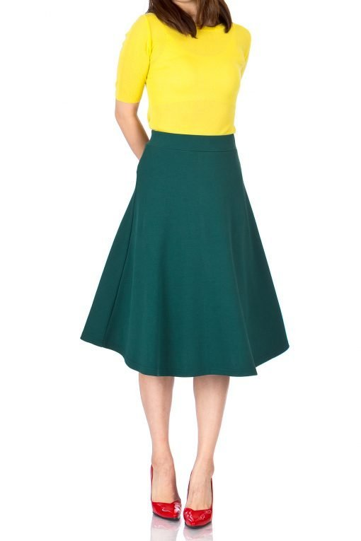 Everyday High Waist A line Flared Skater Midi Skirt Deep Green 2