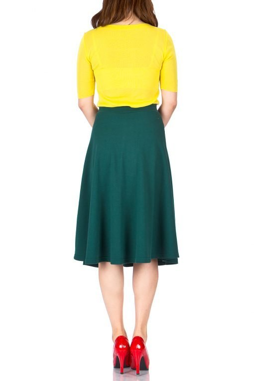 Everyday High Waist A line Flared Skater Midi Skirt Deep Green 4