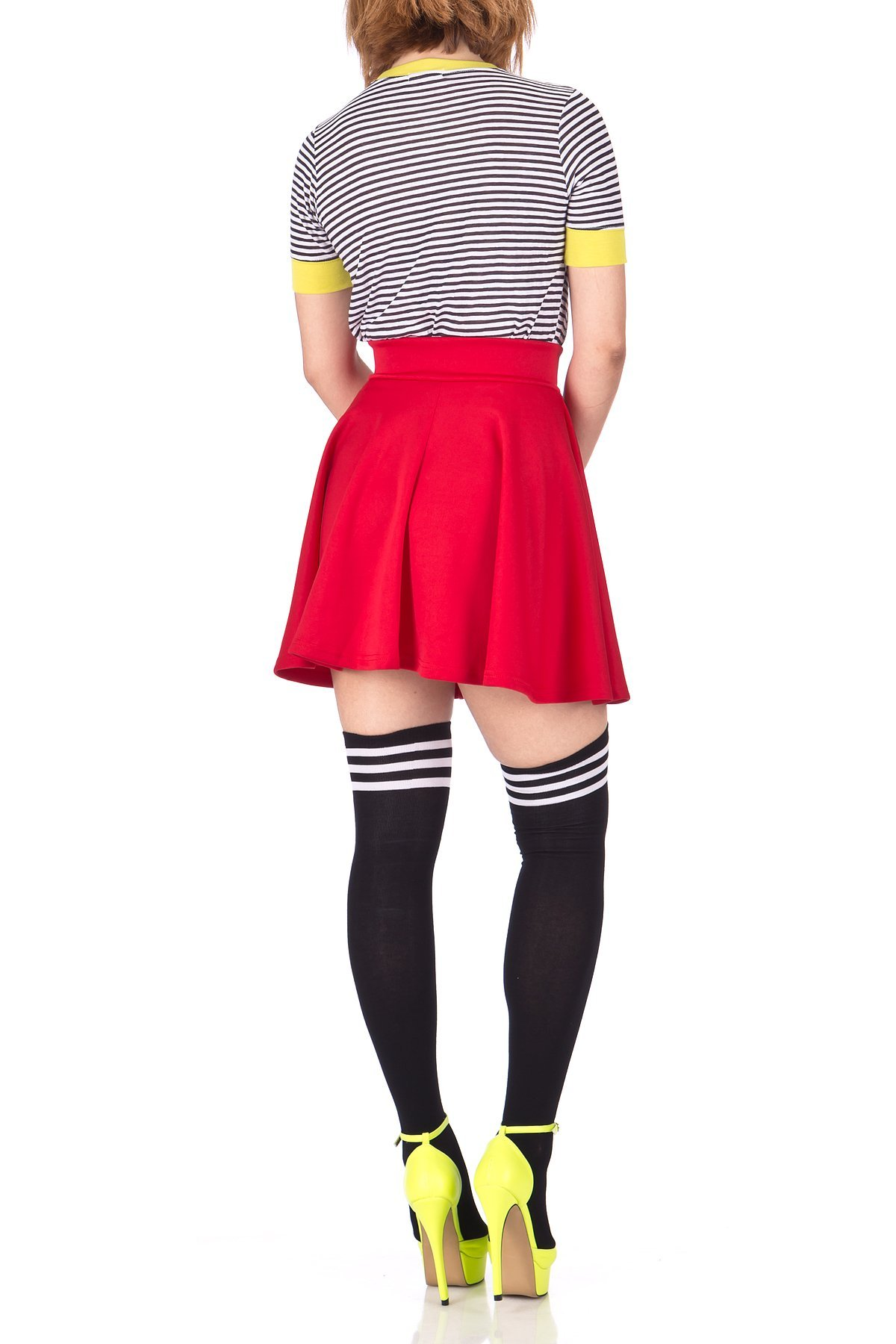 Fancy Retro High Waist A line Flowing Full Flared Swing Circle Skater Short Mini Skirt Red 05