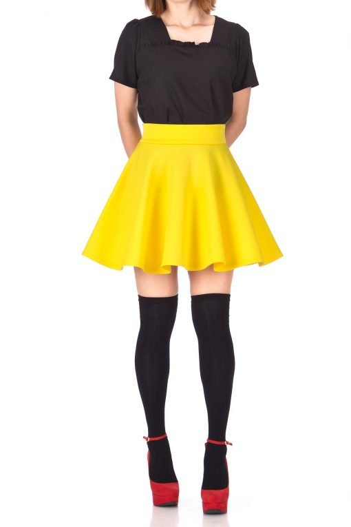 Fancy Retro High Waist A line Flowing Full Flared Swing Circle Skater Short Mini Skirt Yellow 01 1
