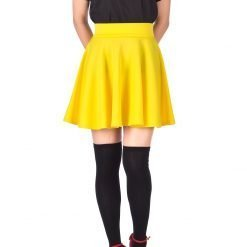 Fancy Retro High Waist A line Flowing Full Flared Swing Circle Skater Short Mini Skirt Yellow 02 1