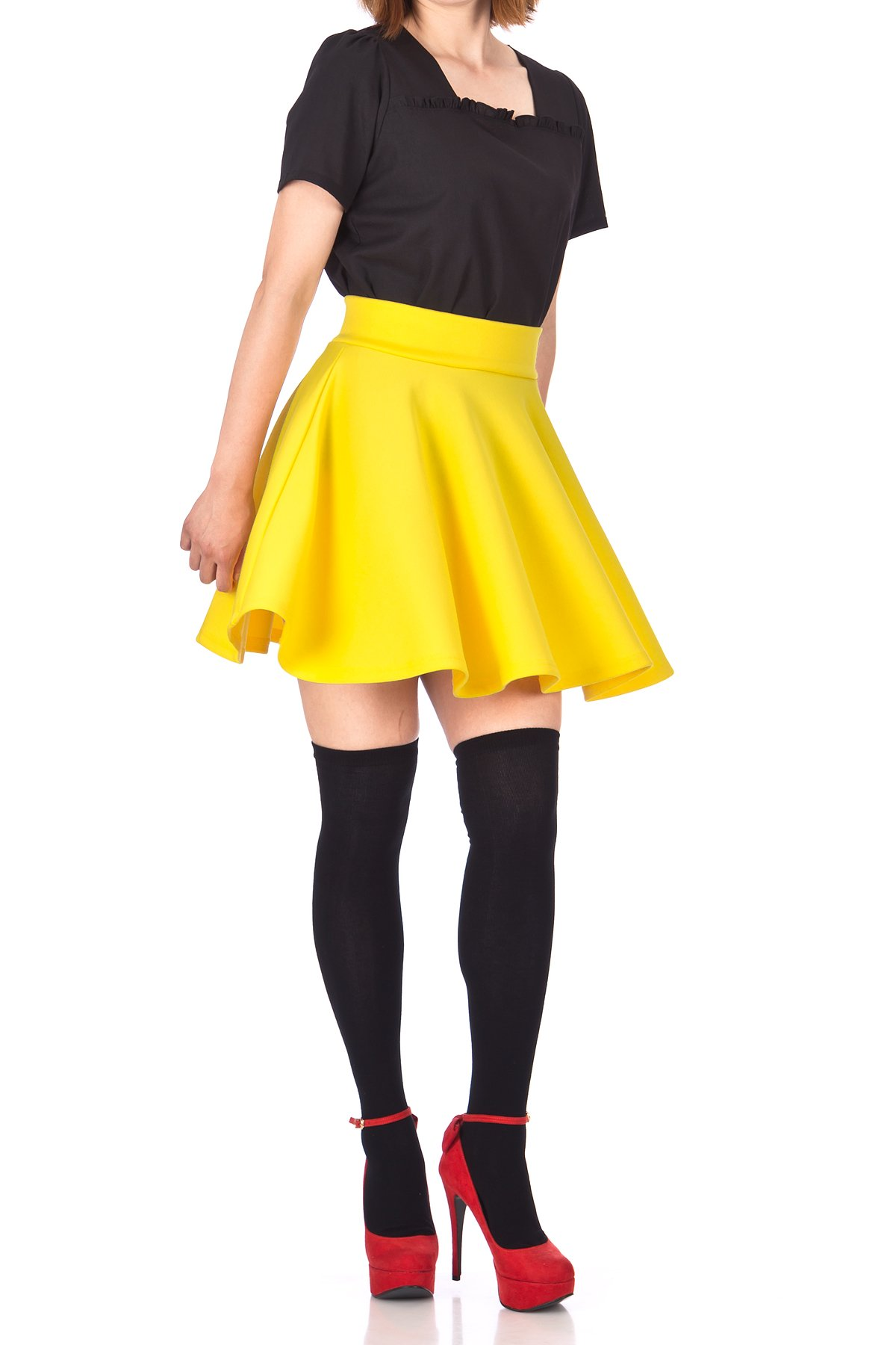Fancy Retro High Waist A line Flowing Full Flared Swing Circle Skater Short Mini Skirt Yellow 03