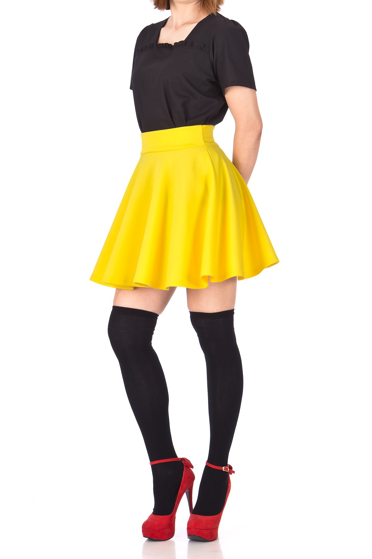 Fancy Retro High Waist A line Flowing Full Flared Swing Circle Skater Short Mini Skirt Yellow 04