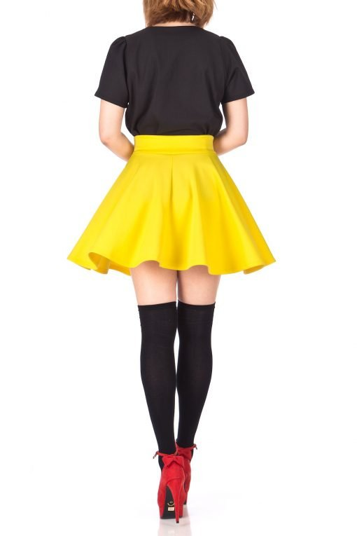 Fancy Retro High Waist A line Flowing Full Flared Swing Circle Skater Short Mini Skirt Yellow 05 1